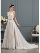 Ball-Gown/Princess Illusion Chapel Train Tulle Wedding Dress With Sequins