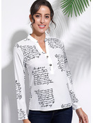 Long Sleeves Cotton Cotton Blends V Neck Shirt Blouses Blouses