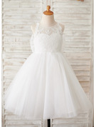 Knee-length Flower Girl Dress - Tulle Lace Sleeveless Scoop Neck With Flower(s) Bow(s)