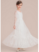 Floor-length Flower Girl Dress - Lace Long Sleeves V-neck