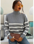 Striped Polyester Turtleneck Pullovers Sweaters
