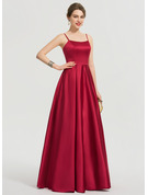 A-Line Square Neckline Floor-Length Satin Bridesmaid Dress