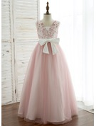 Floor-length Flower Girl Dress - Satin Tulle Lace Sleeveless V-neck With V Back