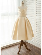 Tea-length Flower Girl Dress - Satin Sleeveless Square Neckline