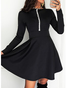 Sequins Solid A-line Round Neck Long Sleeves Midi Elegant Skater Dresses
