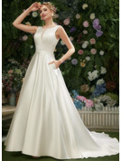 A-Line Scoop Neck Court Train Wedding Dress