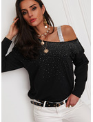 Regular Cotton Blends One Shoulder Sequins Fitted Blouses
