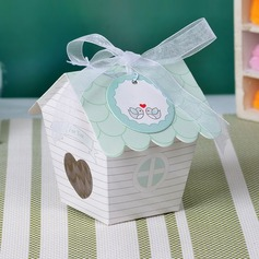 Cute House Shaped Pearl Paper Favor Boxes & Containers/Cupcake Boxes With Ribbons