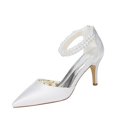 Women's Silk Like Satin Stiletto Heel Pumps With Imitation Pearl