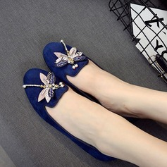 Women's Suede Flat Heel Flats Pumps With Rhinestone shoes