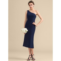 Sheath/Column One-Shoulder Tea-Length Satin Bridesmaid Dress With Bow(s)