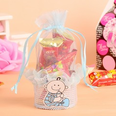 """Baby"" Basket Nonwoven Fabric Favor Bags With Ribbons"