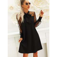 PolkaDot Solid Shift Butterfly Collar Long Sleeves Puff Sleeves Midi Little Black Party Dresses (294255385)