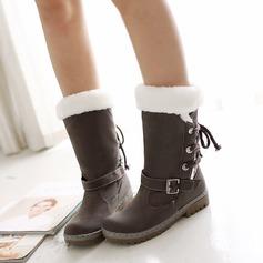 Dámské Koženka Nízký podpatek Closed Toe Boty Mid-Calf Boots S Na přezku Šněrovací obuv