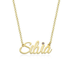 [Free Shipping]Custom 18k Gold Plated Letter Name Necklace Birthstone Necklace With Birthstone - Birthday Gifts