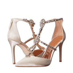 Women's Satin Stiletto Heel Peep Toe Sandals Beach Wedding Shoes With Rhinestone (047123322)