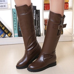 Women's PU Wedge Heel Boots Knee High Boots With Buckle Zipper shoes