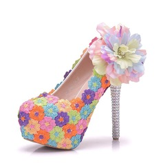 Women's Leatherette Stiletto Heel Closed Toe Platform Pumps With Flower Crystal Heel