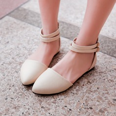 Women's Leatherette Flat Heel Flats Closed Toe With Buckle shoes (086120685)