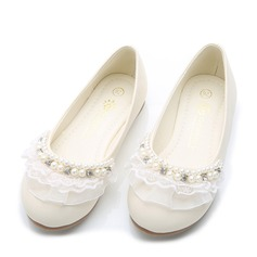 Girl's Round Toe Leatherette Flat Heel Flats With Beading Stitching Lace