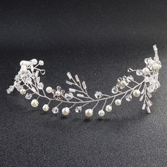 Ladies Charming Alloy Headbands With Venetian Pearl/Crystal