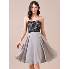 A-Line/Princess Sweetheart Knee-Length Chiffon Lace Bridesmaid Dress