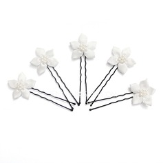 Gorgeous Alloy/Pearl/Satin Hairpins (Set of 5)
