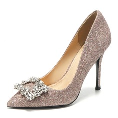 Women's Leatherette Sparkling Glitter Spool Heel Closed Toe Pumps With Buckle