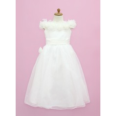 A-Line/Princess Floor-length Flower Girl Dress - Organza/Satin Sleeveless Off-the-Shoulder With Ruffles/Flower(s)/Bow(s)