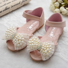 Girl's Leatherette Flat Heel Peep Toe Mary Jane Sandals With Bowknot Imitation Pearl Velcro