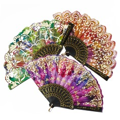 Floral Design Plastic/Silk Hand fan  (051055111)