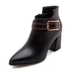 Women's Leatherette Chunky Heel Pumps Closed Toe Boots Ankle Boots Mid-Calf Boots With Buckle Zipper shoes