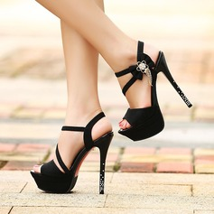 Women's Suede Stiletto Heel Sandals Pumps Platform Peep Toe With Bowknot Jewelry Heel shoes (087132683)