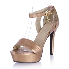 Frauen Kunstleder Stöckel Absatz Sandalen Absatzschuhe Peep Toe mit Schnalle Schuhe