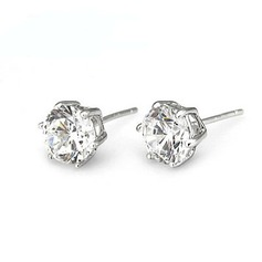 Shining Sterling Silver/Cubic Zirconia Ladies' Earrings