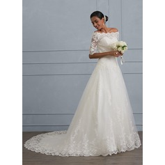 Ball-Gown Off-the-Shoulder Court Train Tulle Lace Wedding Dress With Beading Sequins (002130561)