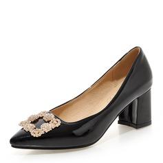 Donna Pelle verniciata Tacco spesso Stiletto Punta chiusa con Strass scarpe