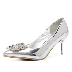 Women's Patent Leather Stiletto Heel Pumps With Crystal
