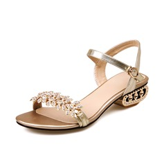 Women's Real Leather Low Heel Sandals Slingbacks With Rhinestone shoes