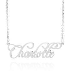 Custom Sterling Silver Old English Cursive Name Necklace - Valentines Gifts