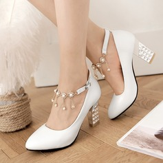 Women's Leatherette Chunky Heel Closed Toe Pumps With Buckle Imitation Pearl (047108622)