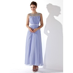 A-Line/Princess Scoop Neck Ankle-Length Chiffon Prom Dress With Ruffle Beading