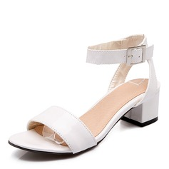 Women's Patent Leather Chunky Heel Sandals Pumps Peep Toe With Buckle shoes