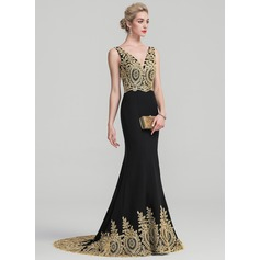 Trumpet/Mermaid V-neck Sweep Train Stretch Crepe Evening Dress