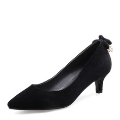 Women's Suede Low Heel Pumps Closed Toe With Bowknot shoes
