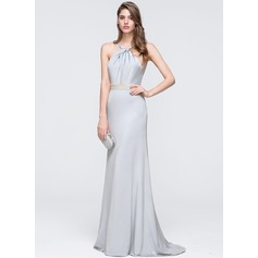 Sheath/Column Halter Sweep Train Jersey Prom Dresses With Beading