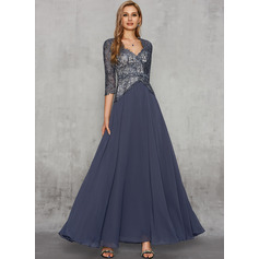 A-Line Sweetheart Floor-Length Chiffon Lace Evening Dress With Lace Beading Sequins