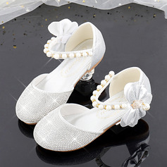 Jentas Round Toe Sparkling Glitter Flower Girl Shoes med Profilering Bowknot Crystal Perle (207224874)