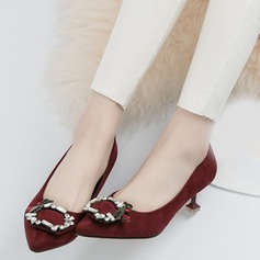 Women's Suede Kitten Heel Pumps Closed Toe With Buckle shoes