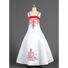 A-Line/Princess Floor-length Flower Girl Dress - Satin Sleeveless With Embroidered/Sash/Beading